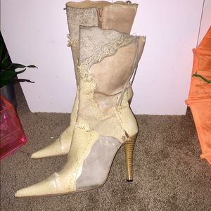 Natural Knee High Heeled Boots